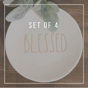 """RAE DUNN   Set Of 4 Fall BLESSED 8"""" Salad Plates"""
